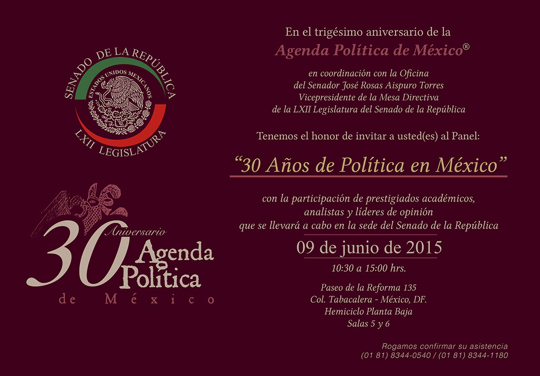 Photo of 30 Aniversario de Agenda Política de México