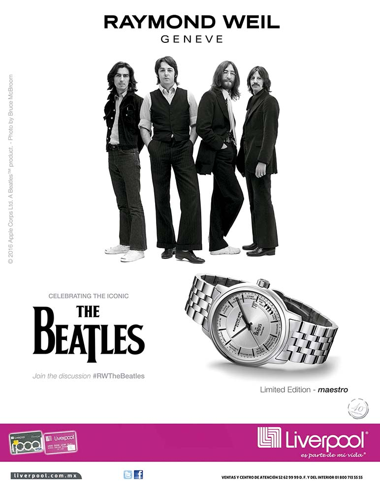 Photo of Raymond Weil Geneve celebrando el ícono Los Beatles