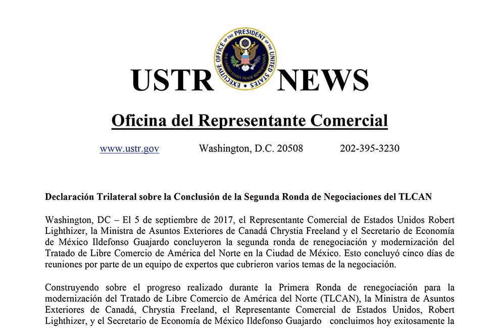 Photo of Declaración Trilateral sobre la Conclusión de la Segunda Ronda de Negociaciones del TLCAN