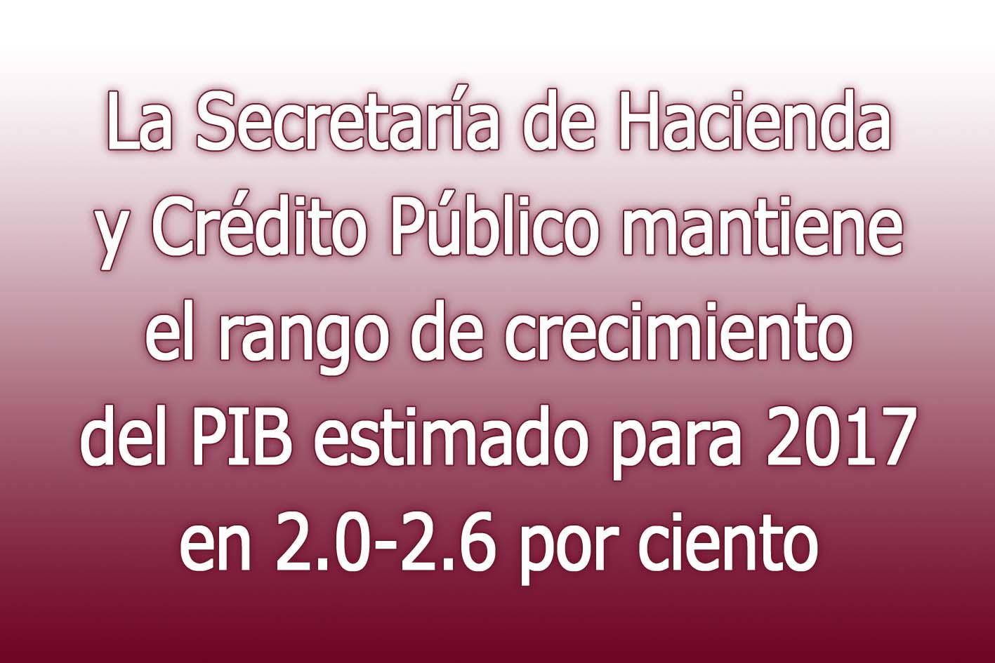 Photo of La Secretaría de Hacienda y Crédito Público mantiene el rango de crecimiento del PIB estimado para 2017 en 2.0-2.6 por ciento