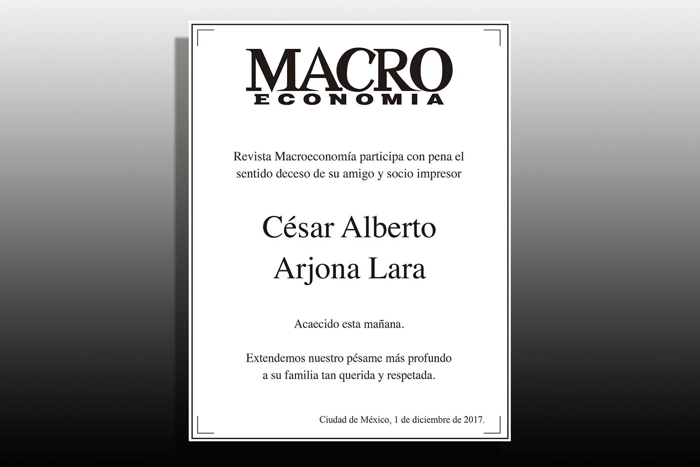Photo of Esquela de César Alberto Arjona Lara