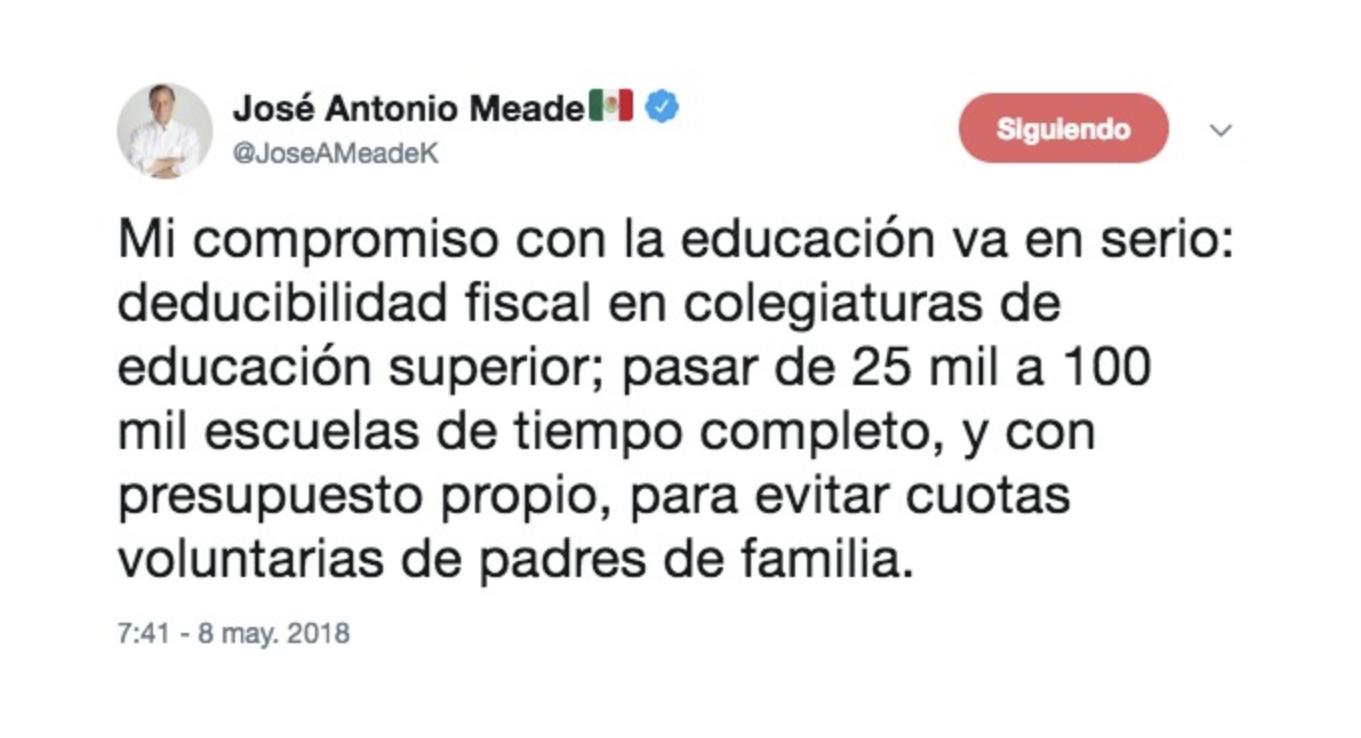 Photo of José Antonio Meade ofrece deducibilidad fiscal en colegiaturas de educación superior