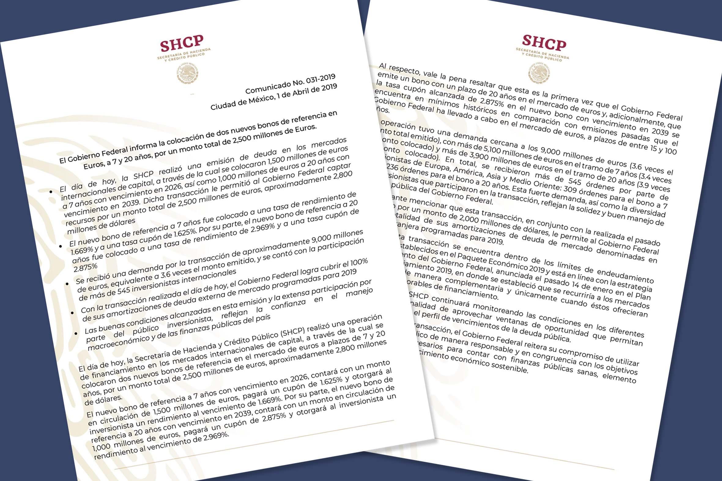 Photo of El Gobierno Federal informa la colocación de dos nuevos bonos de referencia en Euros, a 7 y 20 años, por un monto total de 2,500 millones de Euros