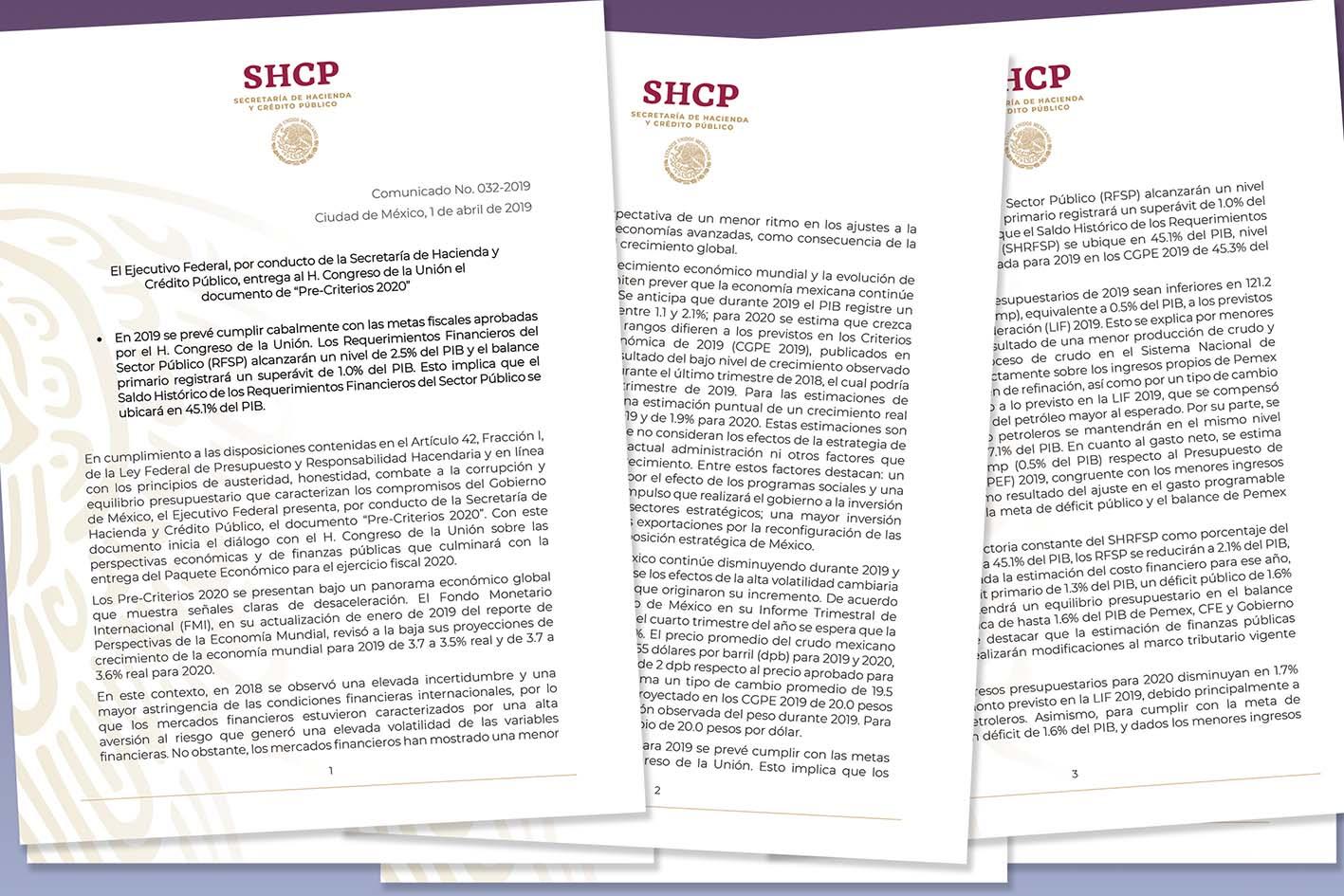"""Photo of El Ejecutivo Federal, por conducto de la SHCP, entrega al H. Congreso de la Unión el documento de """"Pre-Criterios 2020"""""""
