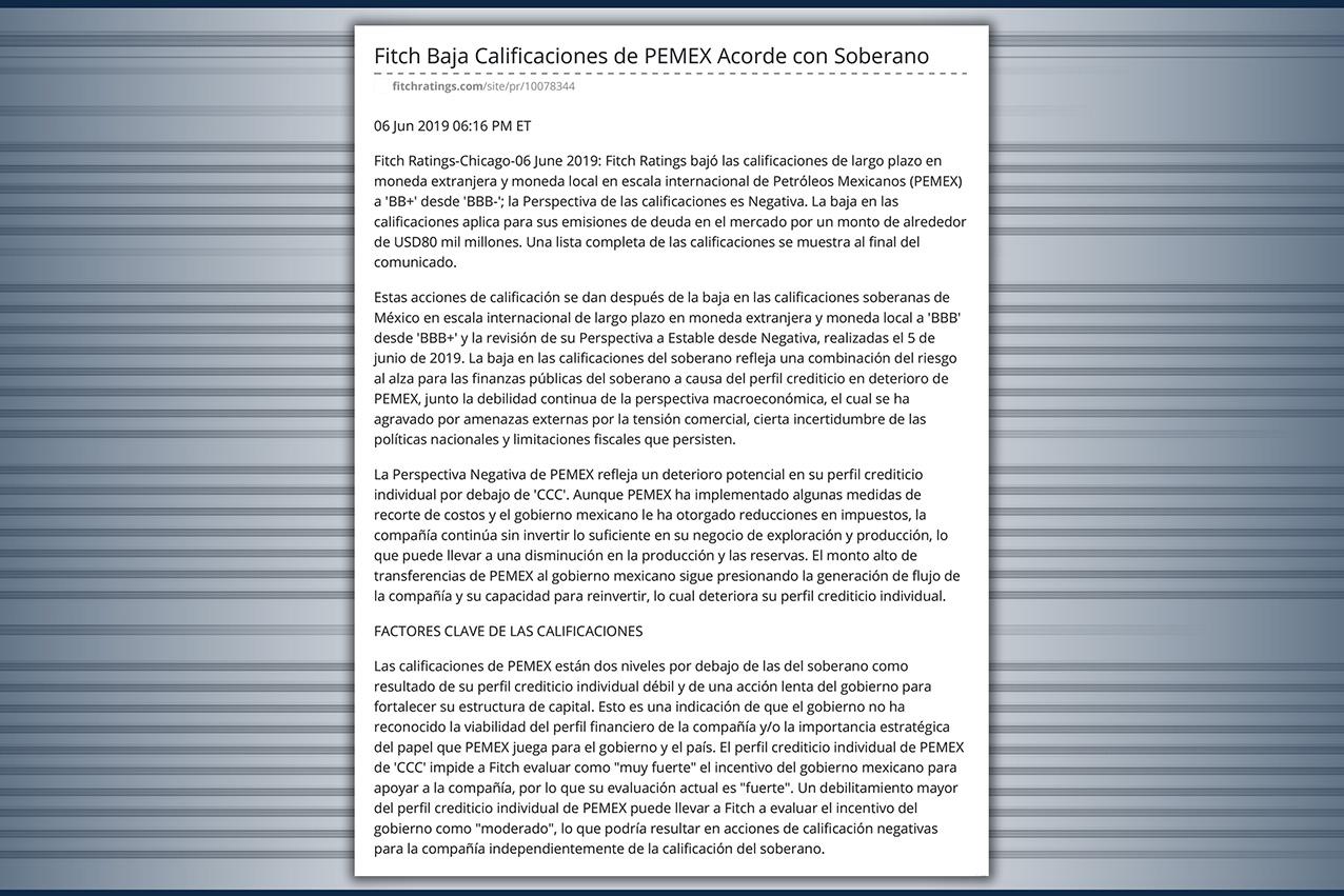 Photo of Fitch quita el grado de inversión a Pemex