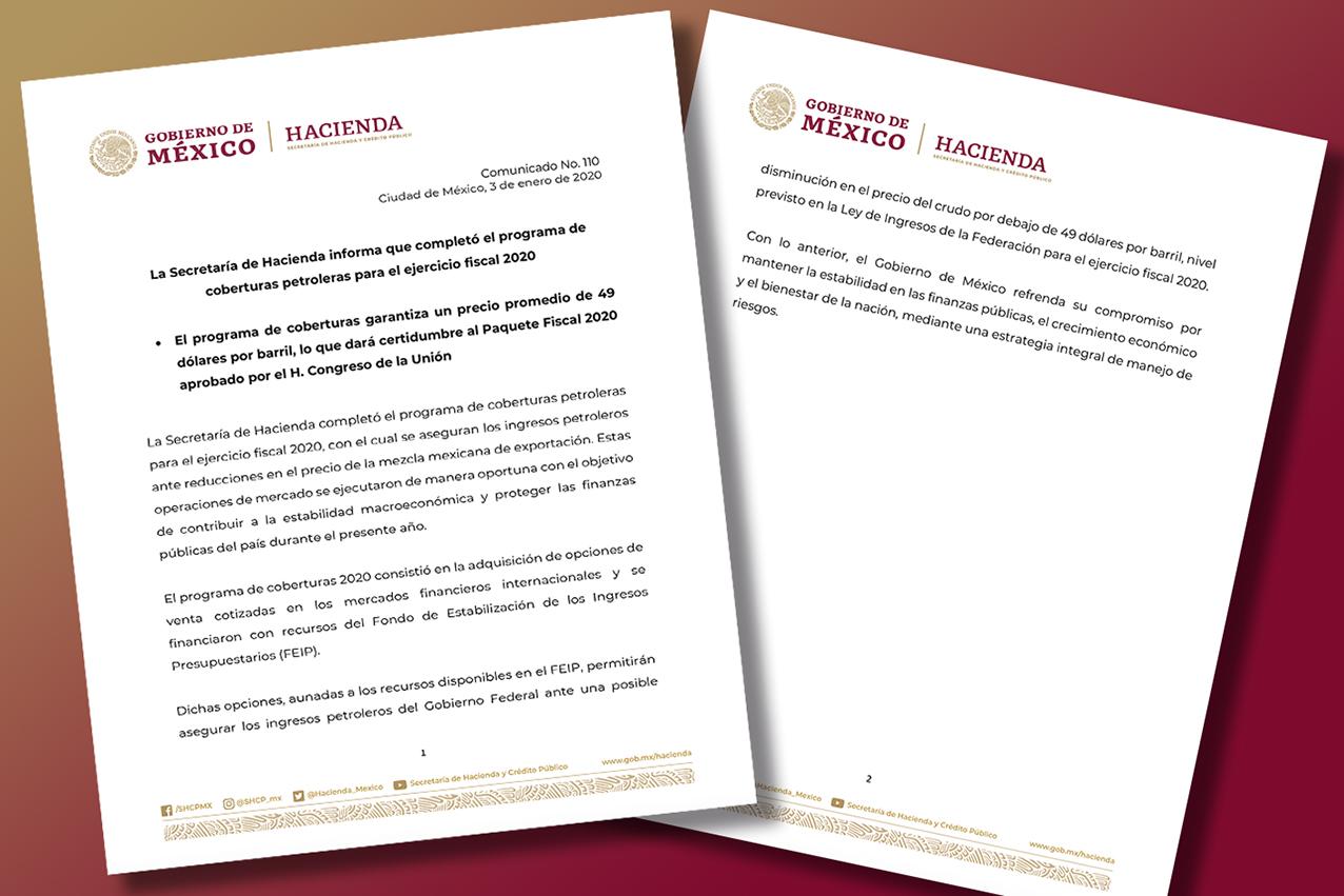 Photo of La Secretaría de Hacienda informa que completó el programa de coberturas petroleras para el ejercicio fiscal 2020