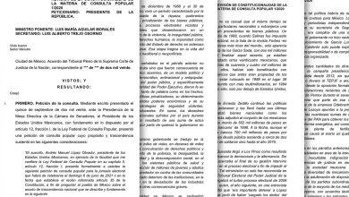 Photo of El Proyecto de resolución del Ministro Luis Maria Aguilar, de la Suprema Corte de Justicia de la Nación rechaza la Consulta Popular por inconstitucional: viola los derechos humanos de los mexicanos