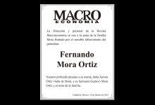 Photo of La Dirección de Macroeconomía se une a la pena de la familia Mora Hurtado por el sensible fallecimiento del periodista Fernando Mora Ortiz