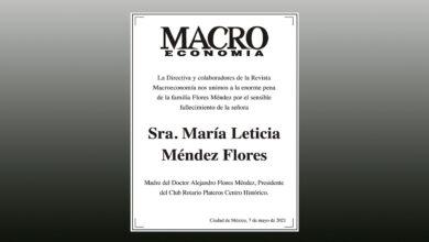 Photo of La Revista Macroeconomía expresa Condolencias al Dr. Alejandro Flores Méndez