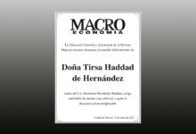 Photo of La Revista Macroeconomía expresa Condolencias al Lic. Humberto Hernández Haddad