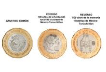 """Photo of Seis monedas conmemorativas de los """"700 años de la fundación lunar de la ciudad de México-Tenochtitlan"""", de los """"500 años de la memoria histórica de México-Tenochtitlan"""" y del """"Bicentenario de la Independencia Nacional"""""""