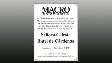 Photo of La Dirección General de Revista Macroeconomía lamenta el fallecimiento de la Señora Celeste Batel de Cárdenas